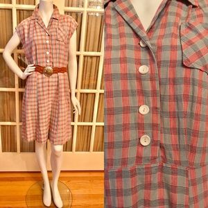 Vintage Pink and Gray Stripe Cotton Shirt Dress